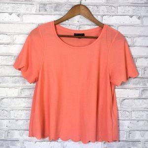 Topshop Coral Scallop Hem T Shirt Size 8